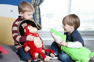 Kids Playing with Zoobies Stuffed Animals