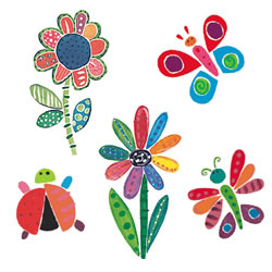 Jenny's Flowers & Bugs Wallies Mural Wallpaper Cutouts
