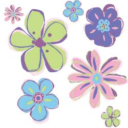 Doodle Flowers Wallies Mural Wallpaper Cutouts