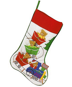 Teddy Bear Train Christmas Stocking