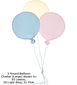 3 Round Balloon Cluster (Large) Fabric Wall Art Shown in 32 Lemon, 33 Light Blue, 31 Pink
