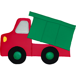 Dump Truck Fabric Wall Art shown in Primary Colors