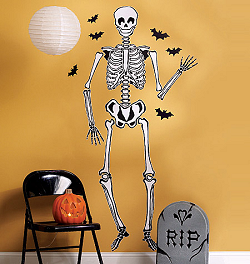 Skeleton Holiday Wallies Giant Wall Decals Room View