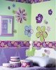 Doodle Flowers Wallies Mural Wallpaper Cutouts shown with Regular Size and Border (retired)
