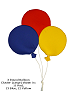 3 Round Balloon Cluster (Large) Fabric Wall Art Shown in 11 Red, 13 Blue, 12 Yellow