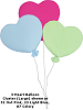 3 Heart Balloon Cluster (Large) Fabric Wall Art shown in #33 Light Blue, #51 Hot Pink, #33 Light Blue, #87 Celery