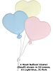 3 Heart Balloon Cluster (Small) Fabric Wall Art shown in #32 Lemon, #33 Light Blue, #31 Pink