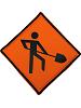 Men Working Sign Fabric Wall Art shown in 15 Orange