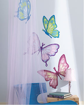 Butterflies wallies mural wallpaper cutouts for Butterfly mural wallpaper