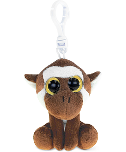 Monkey (Brown) Big Eyes Plush Backpack Clip Stuffed Animal