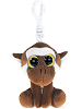 Monkey (Brown) Big Eyes Plush Backpack Clip Stuffed Animal by Puzzled