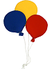 3 Round Balloon Cluster (Small) Fabric Wall Art shown in 11 Yellow, 13 Blue, 11 Red