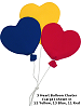 3 Heart Balloon Cluster (Large) Fabric Wall Art shown in #12 Yellow, #13 Blue, #11 Red