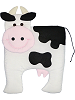 Cow Fabric Wall Art shown in #39 White, #19 Black, #31 Pink, #49 Parchment