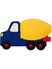 Cement Truck Fabric Wall Art shown in #13 Blue, #12 Yellow, #11 Red, #19 Black