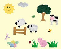 Fabric Wall Art Barnyard Scene