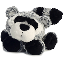 Ruckus Raccoon Funny Bones Stuffed Animal by Aurora World (Lying Down; Paws Front; Front View)
