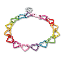 CHARM IT! Rainbow Heart Link Charm Bracelet