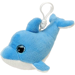Dolphin (Blue) Glitter Eyes Plush Backpack Clip Stuffed Animal by Fiesta