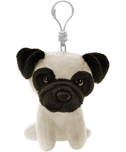 Pug Plush Backpack Clip Stuffed Animal by Fiesta