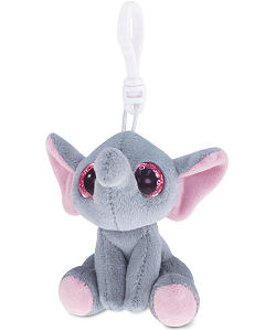 Elephant (Gray) Big Eyes Plush Backpack Clip Stuffed Animal by Puzzled