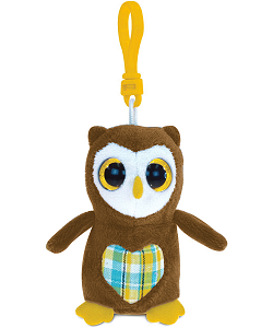 Owl Big Eyes Plush Backpack Clip Stuffed Animal by Puzzled
