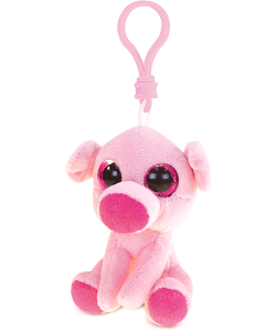 Pig Big Eyes Plush Backpack Clip Stuffed Animal by Puzzled