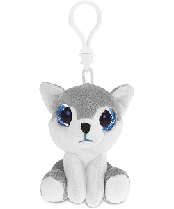 Wolf / Husky Big Eyes Plush Backpack Clip Stuffed Animal by Puzzled