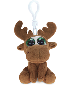 Moose Big Eyes Plush Backpack Clip Stuffed Animal by Puzzled