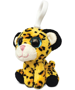 Leopard (Yellow) Big Eyes Plush Backpack Clip Stuffed Animal by Puzzled