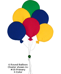6 Round Balloon Cluster (Large) Fabric Wall Art Shown in #10 Primary 4-Color