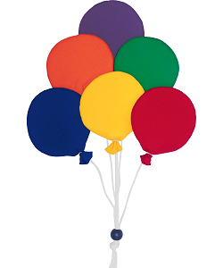 6 Round Balloon Cluster (Small) Fabric Wall Art shown in #10 Primary, 6 Colors