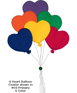 6 Heart Balloon Cluster (Large) Fabric Wall Art shown in #10 Primary, 6-Color