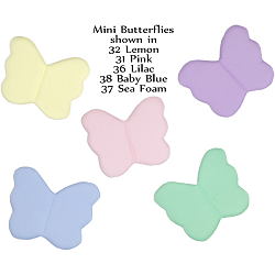 Mini Butterfly Fabric Wall Art shown in 32 Lemon, 31 Pink, 36 Lilac, 38 Baby Blue, 37 Sea Foam