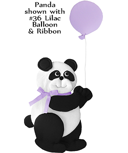 Panda Bear with Balloon Fabric Wall Art shown with #36 Lilac Balloon and Bow