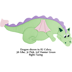 Fabric Wall Art Dragon: #87 Celery, #36 Lilac, #31 Pink, #24 Hunter Green (Right Facing)