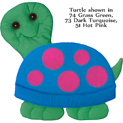 Turtle Fabric Wall Art shown in 74 Grass Green, 73 Dark Turquoise, and 51 Hot Pink