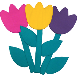 Tulips Fabric Wall Art shown in 51 Hot Pink, 12 Yellow, 16 Purple, 57 Jade