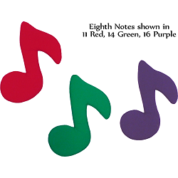Fabric Wall Art Eighth Notes shown in #11 Red, #14 Green, & #16 Purple