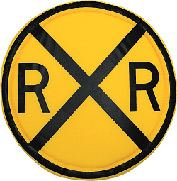 Railroad Crossing Sign Fabric Wall Art