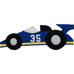 Race Car (Side View) Fabric Wall Art shown in #13 Blue with #11 Yellow Stripe