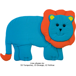 Lion Fabric Wall Art shown in 53 Turquoise, 15 Orange, 12 Yellow