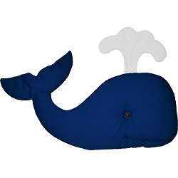 Whale Fabric Wall Art shown in #13 Blue & #39 White