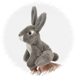Jackrabbit Finger Puppet Stuffed Animal by Unipak