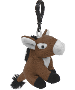 Donkey (Brown) Wildlife Plush Clip-On Stuffed Animal by Unipak