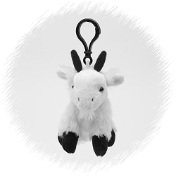 Mountain Goat Wildlife Plush Clip-On Stuffed Animal by Unipak