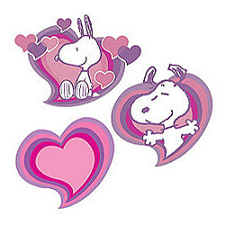 Snoopy Love Wallies Wallpaper Cutouts