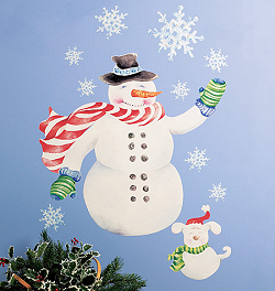Snowman Giant Wall Decals Room View