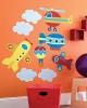 Up, Up, and Away Wallies Big Mural Wallpaper Cutouts Room View