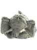 Elate Elephant Funny Bone Stuffed Animal by Aurora World (Lying Down; Feet Front; Front View)